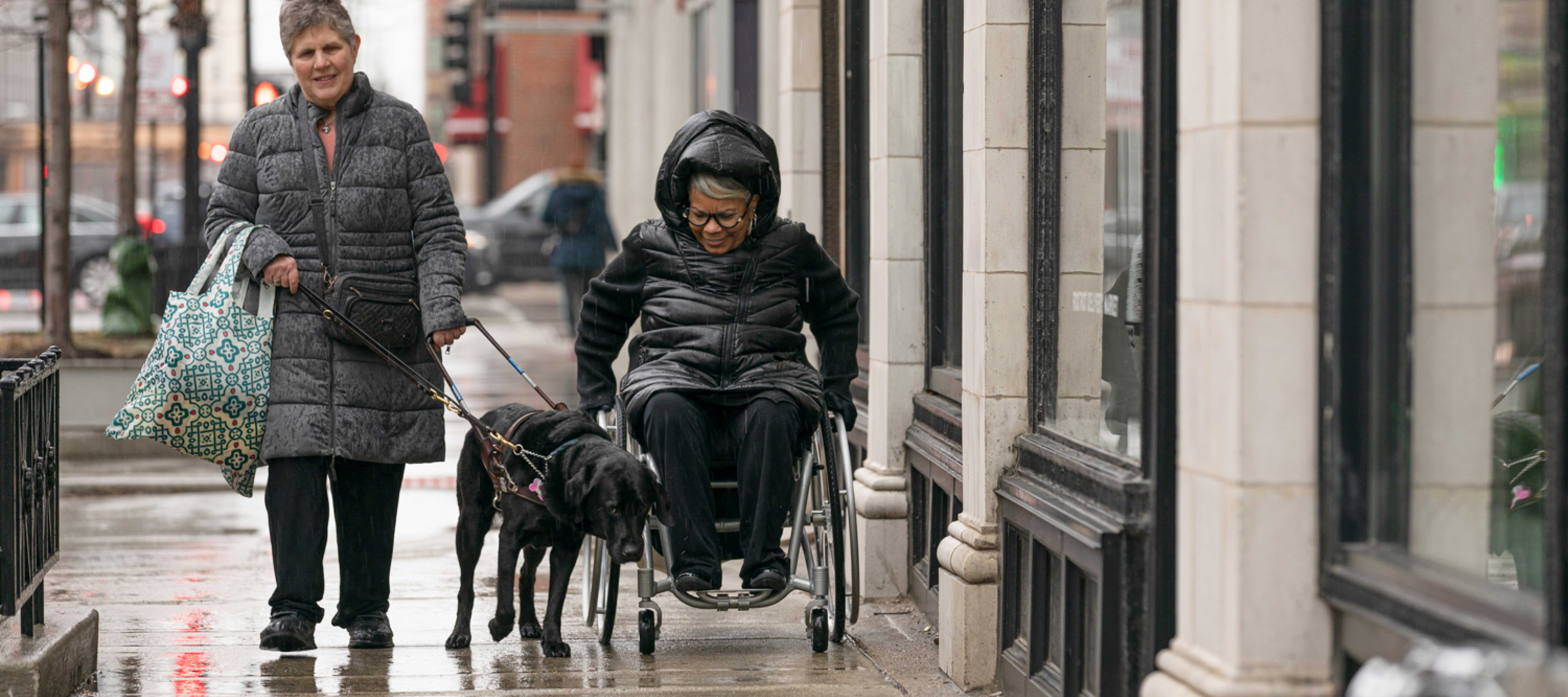 Woman with service dog and wheelchair user walking city street